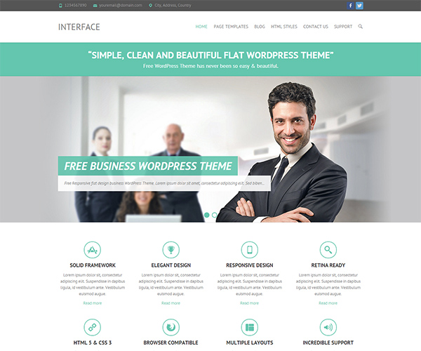 Interface - best free flat simple wordpress theme for business
