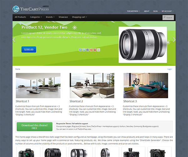 Bootstrap eCommerce Theme TheCartPress Demo