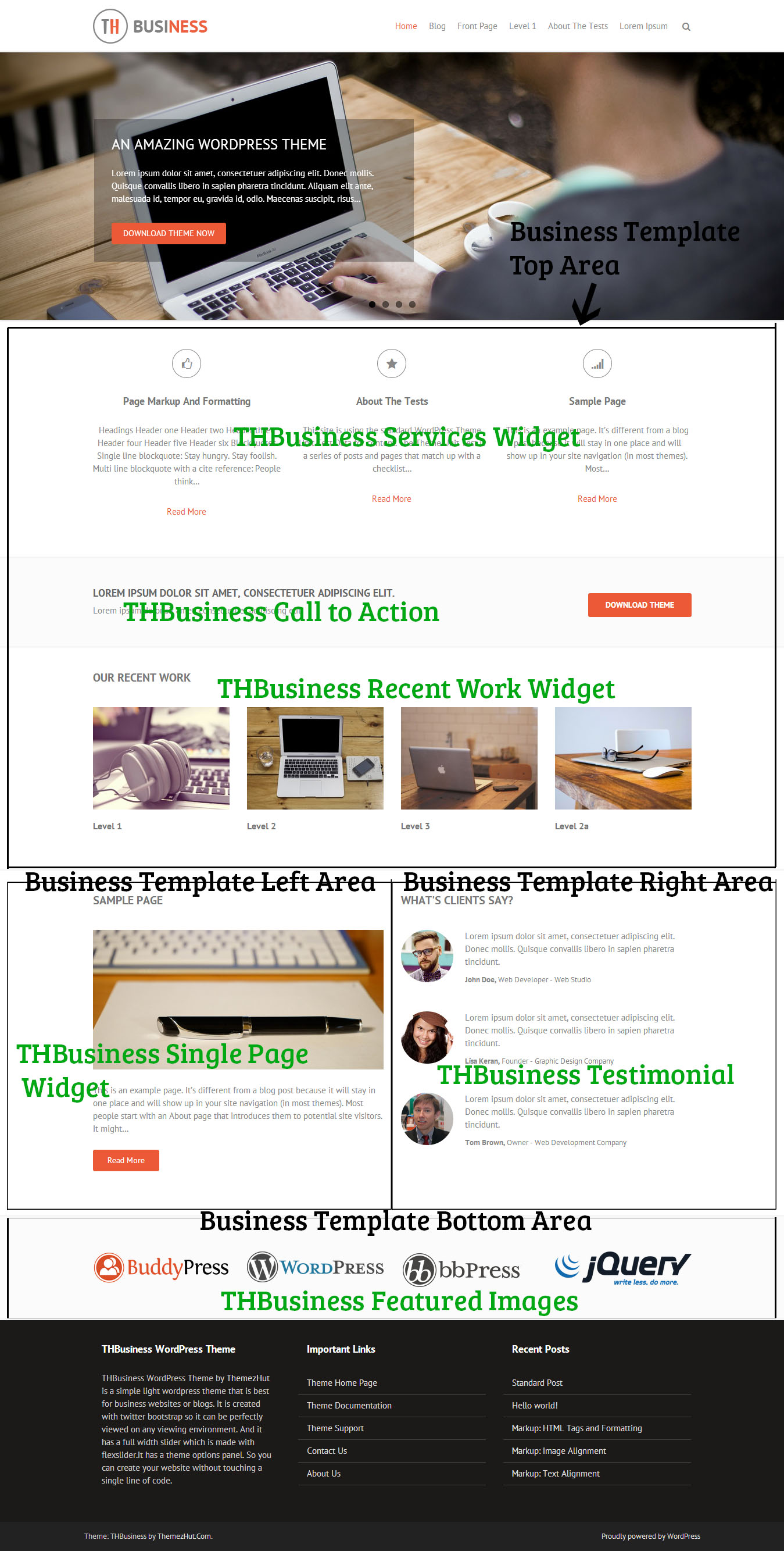 THBusiness Business Template Widget Areas