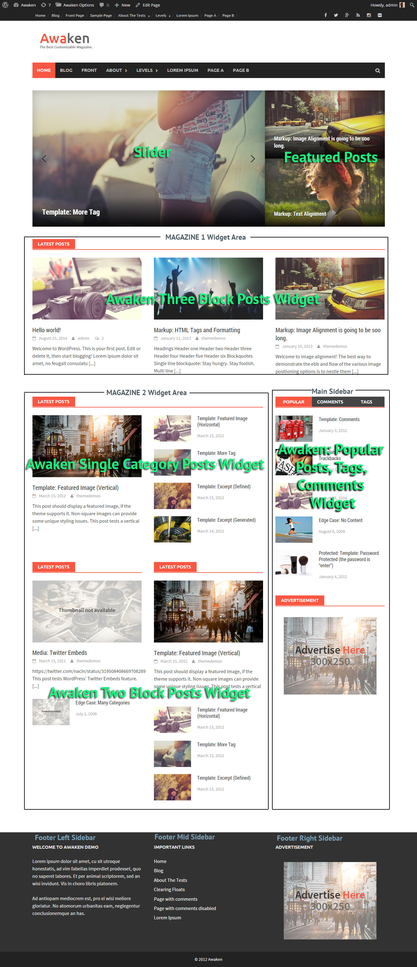 Awaken WordPress Theme Widget Areas