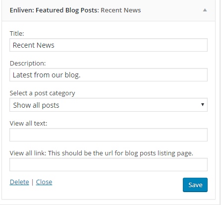 Featured blog posts widget